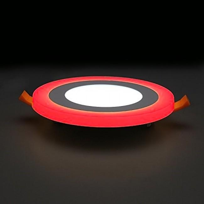 LED two color panel light - teplý bielý kruhový LED-panel s červeným svetelným okrajom 3+3W